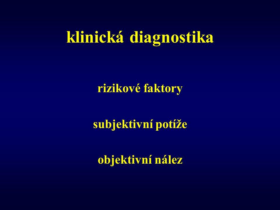 klinická diagnostika rizikové faktory subjektivní potíže