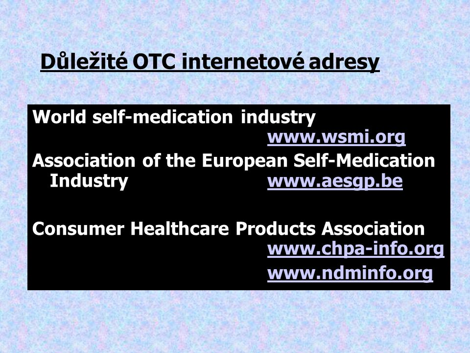Důležité OTC internetové adresy