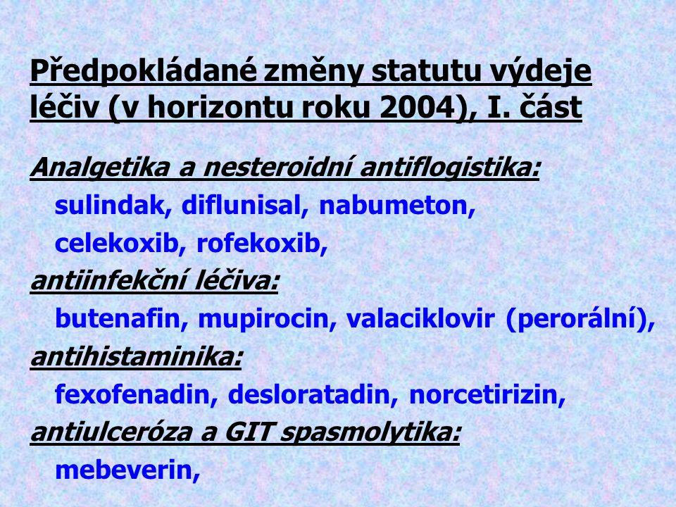Předpokládané změny statutu výdeje léčiv (v horizontu roku 2004), I