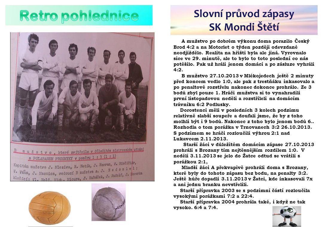 Retro pohlednice Slovní průvod zápasy SK Mondi Štětí