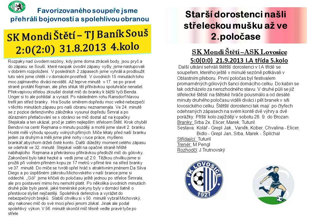 SK Mondi Štětí – TJ Baník Souš 2:0(2:0) 31.8.2013 4.kolo