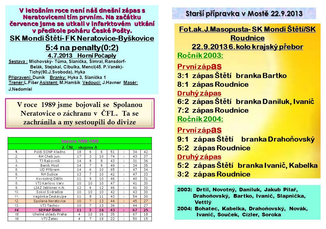 5:4 na penalty(0:2) Starší přípravka v Mostě 22.9.2013