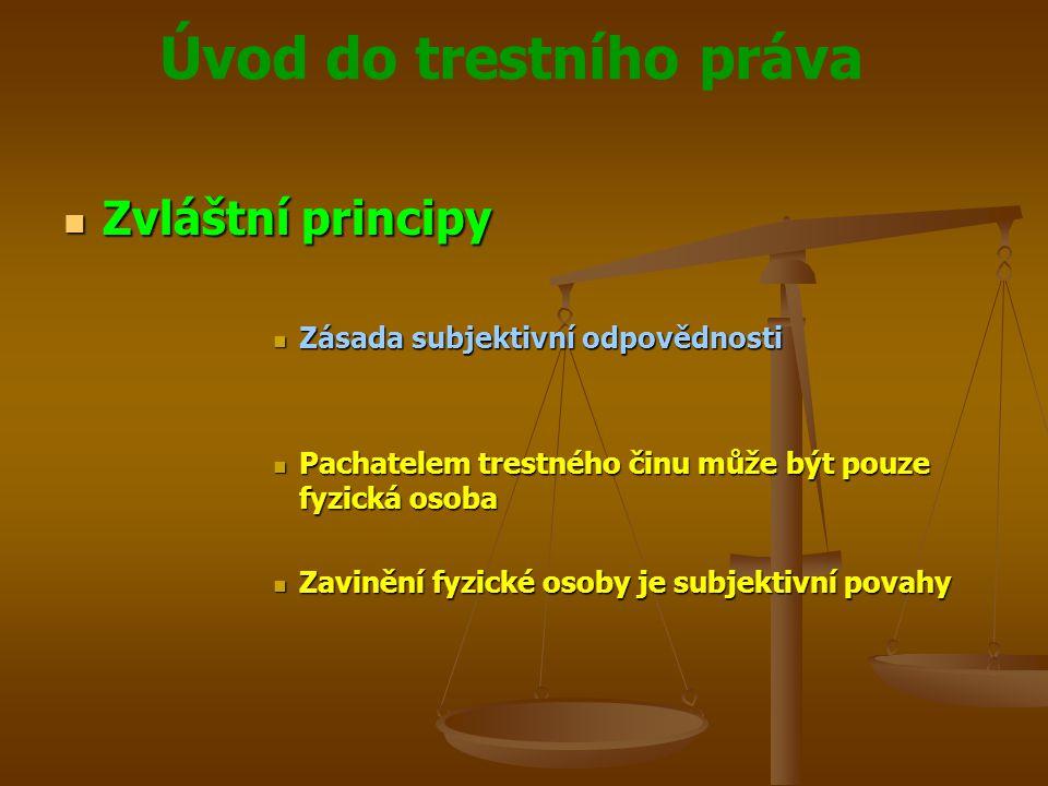 Zvláštní principy Zásada subjektivní odpovědnosti