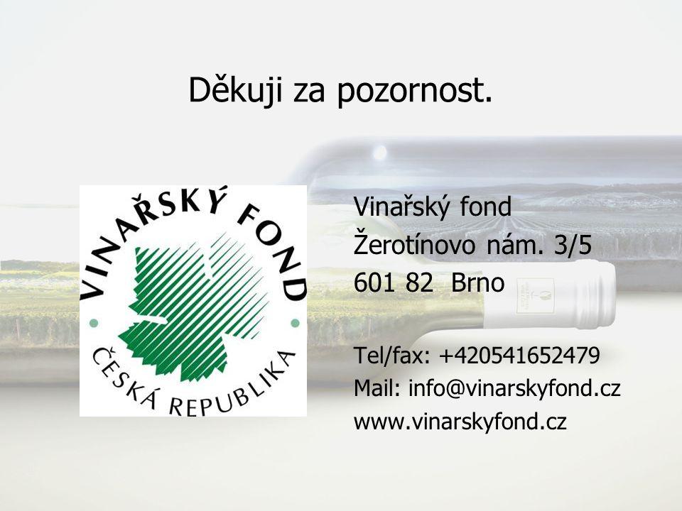 Děkuji za pozornost. Vinařský fond Žerotínovo nám. 3/5 601 82 Brno