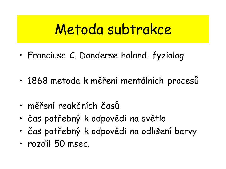 Metoda subtrakce Franciusc C. Donderse holand. fyziolog