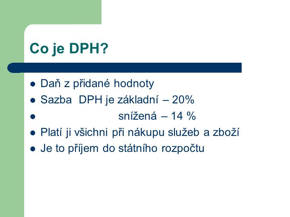 Co je DPH Daň z přidané hodnoty Sazba DPH je základní – 20%