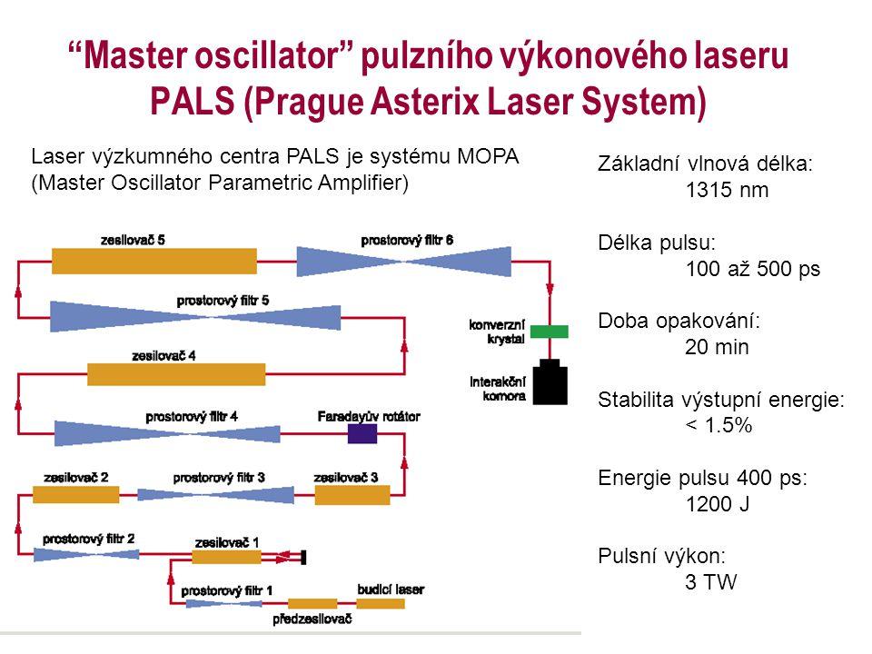 Master oscillator pulzního výkonového laseru PALS (Prague Asterix Laser System)