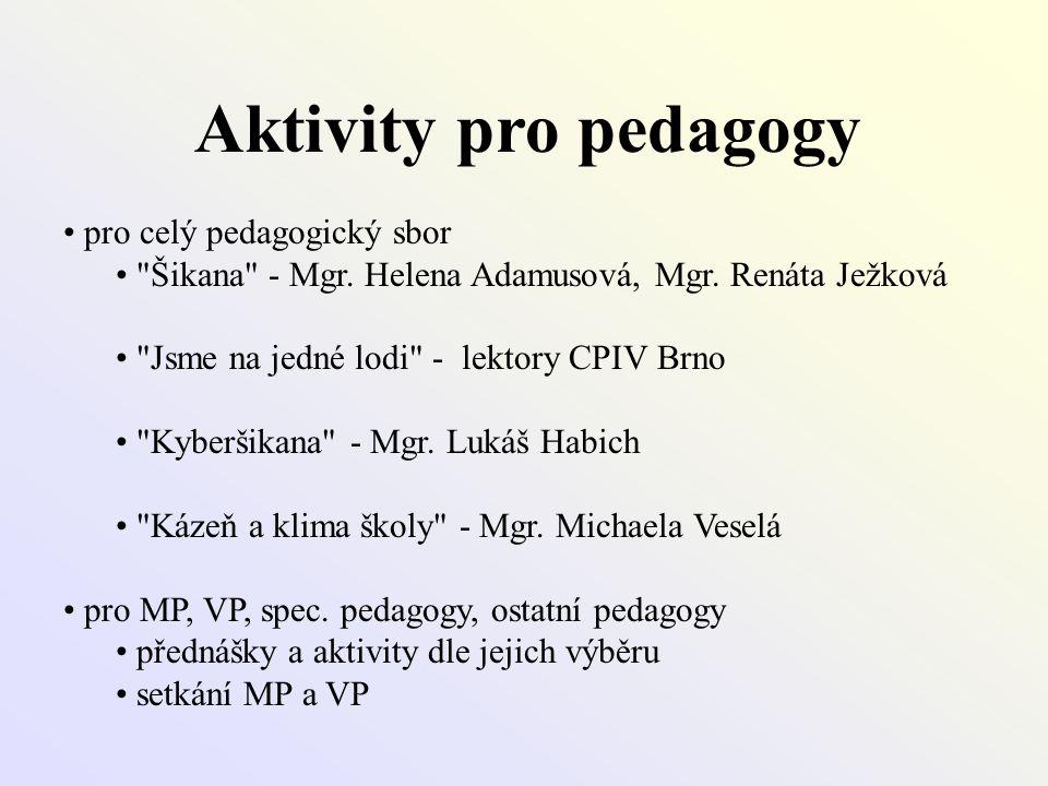 Aktivity pro pedagogy pro celý pedagogický sbor