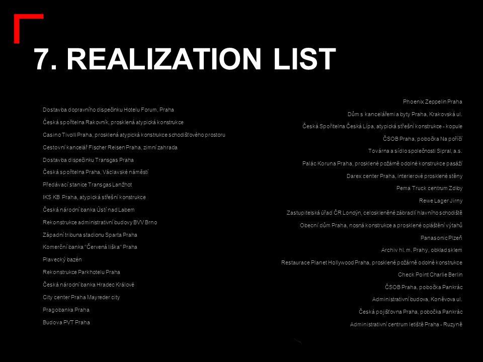 7. REALIZATION LIST: Phoenix Zeppelin Praha