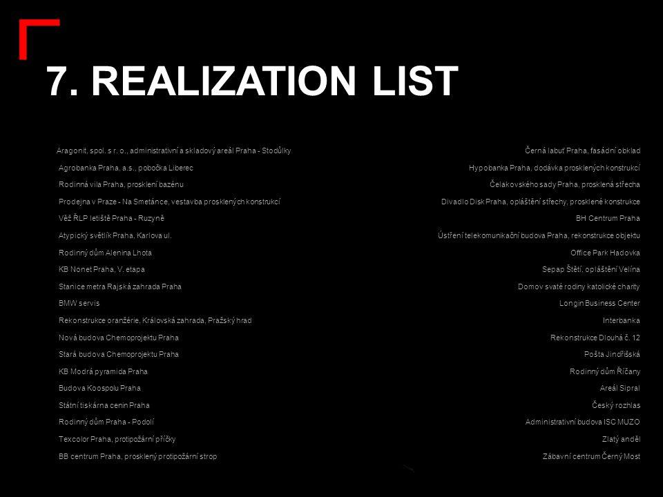 7. REALIZATION LIST: Aragonit, spol. s r. o., administrativní a skladový areál Praha - Stodůlky. Agrobanka Praha, a.s., pobočka Liberec.