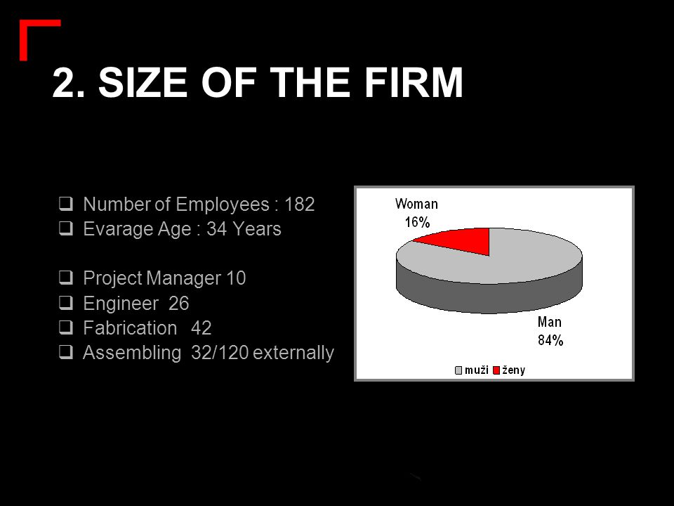 2. SIZE OF THE FIRM Number of Employees : 182 Evarage Age : 34 Years