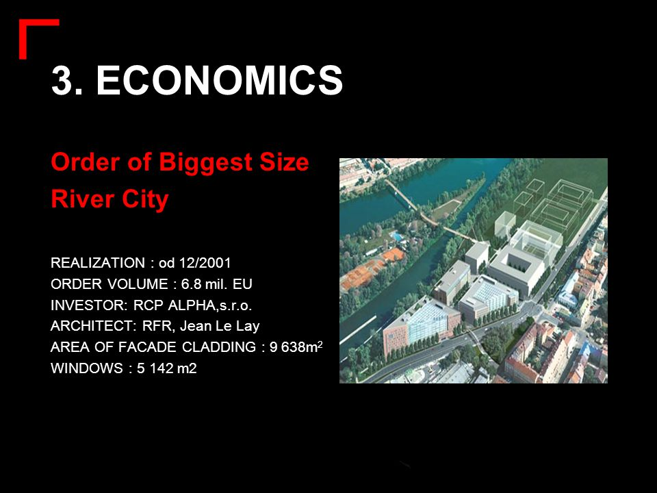 3. ECONOMICS Order of Biggest Size River City REALIZATION : od 12/2001