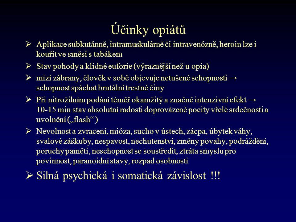 Účinky opiátů Silná psychická i somatická závislost !!!