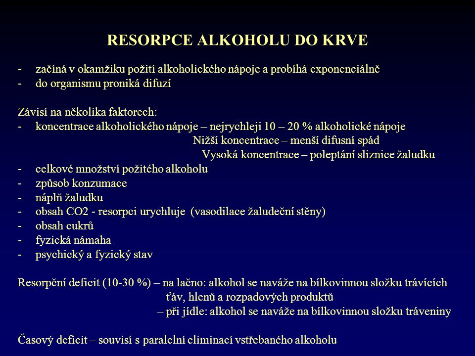 RESORPCE ALKOHOLU DO KRVE
