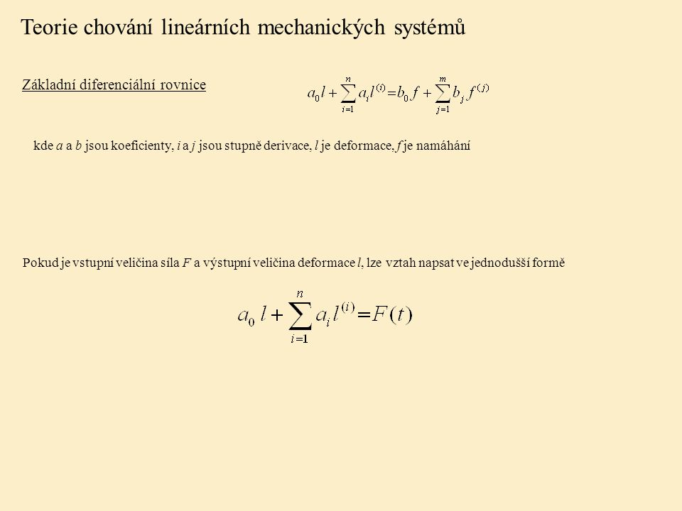 Teorie chování lineárních mechanických systémů