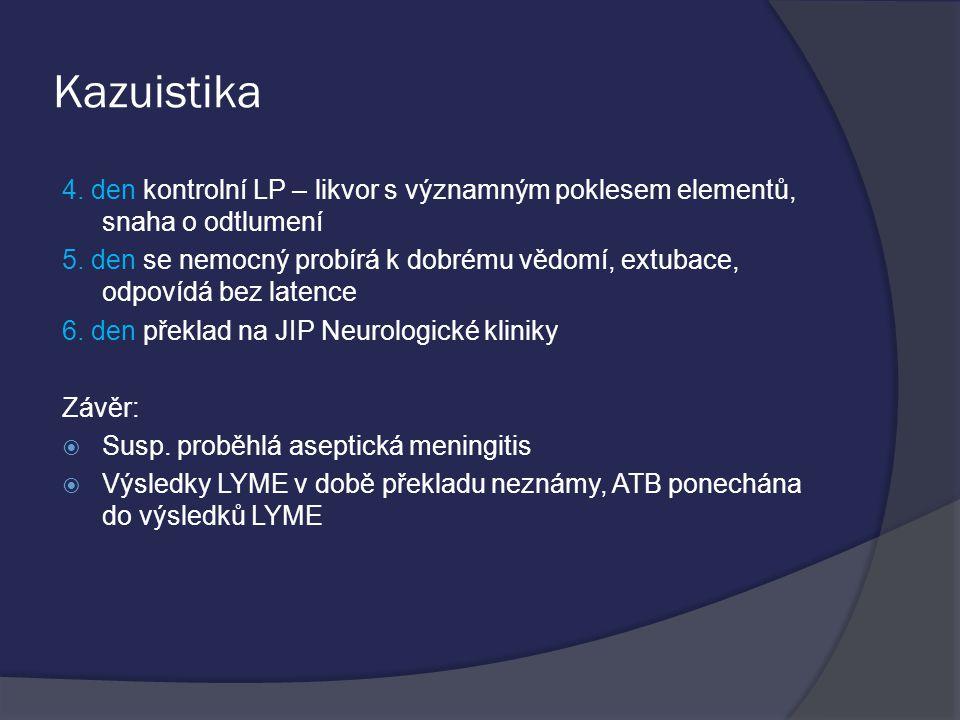 Kazuistika 4. den kontrolní LP – likvor s významným poklesem elementů, snaha o odtlumení.