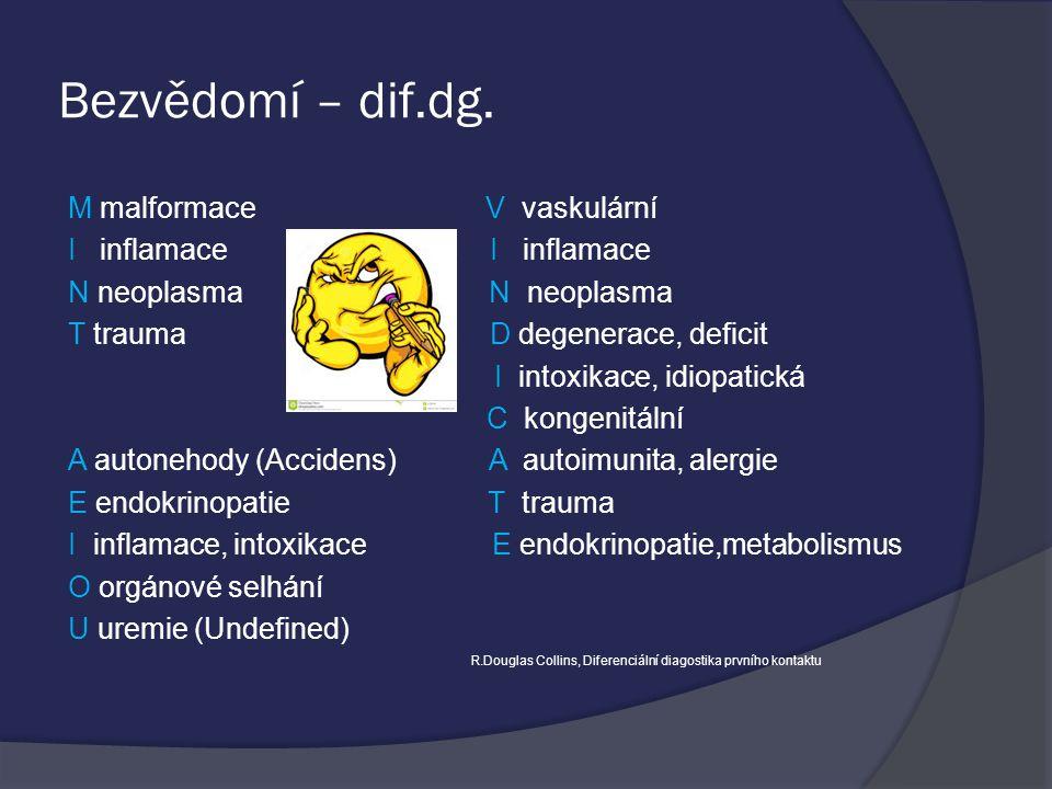 Bezvědomí – dif.dg. M malformace V vaskulární I inflamace I inflamace