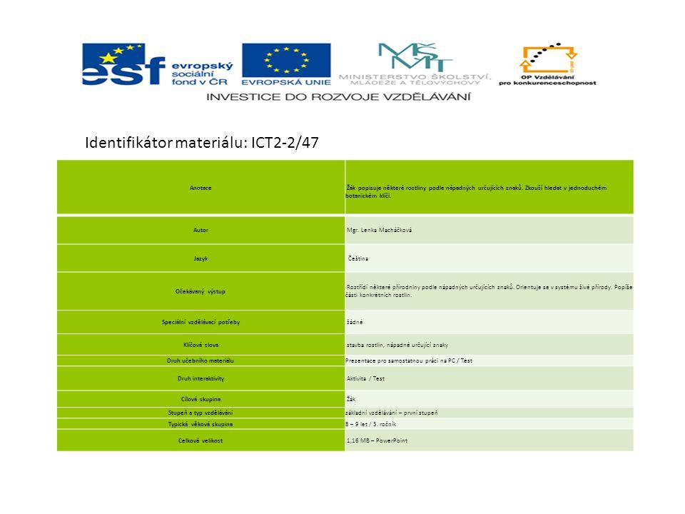 Identifikátor materiálu: ICT2-2/47