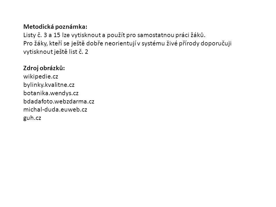 Metodická poznámka: Listy č. 3 a 15 lze vytisknout a použít pro samostatnou práci žáků.