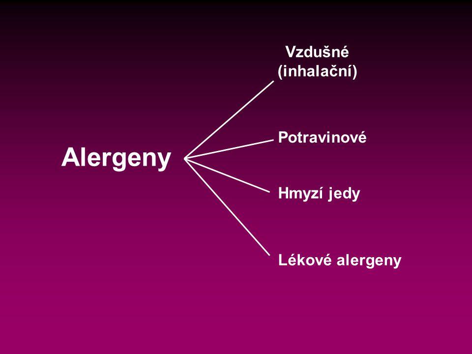 Vzdušné (inhalační) Potravinové Alergeny Hmyzí jedy Lékové alergeny