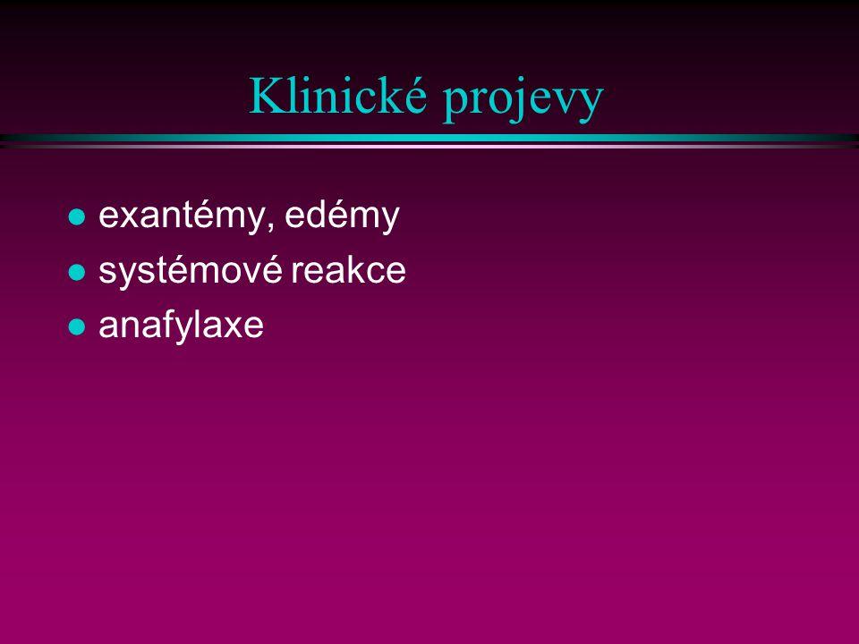 Klinické projevy exantémy, edémy systémové reakce anafylaxe