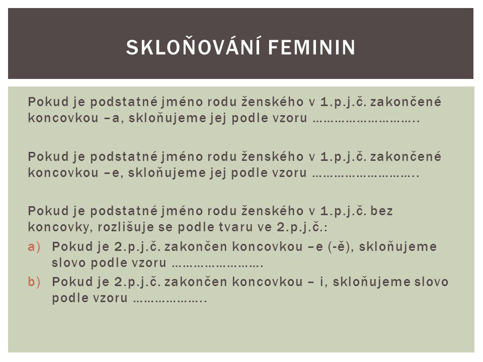 Skloňování feminin Pokud je podstatné jméno rodu ženského v 1.p.j.č. zakončené koncovkou –a, skloňujeme jej podle vzoru ………………………..