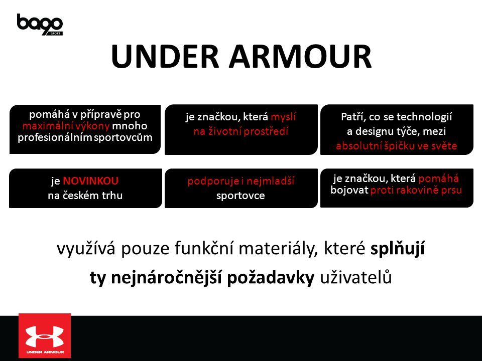 UNDER ARMOUR využívá pouze funkční materiály, které splňují