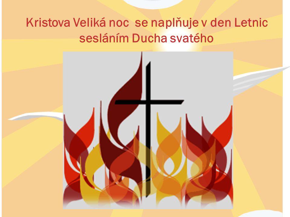 Kristova Veliká noc se naplňuje v den Letnic sesláním Ducha svatého