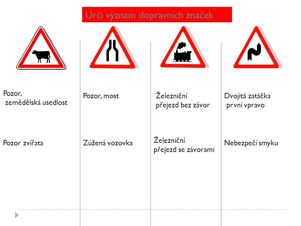Urči význam dopravních značek