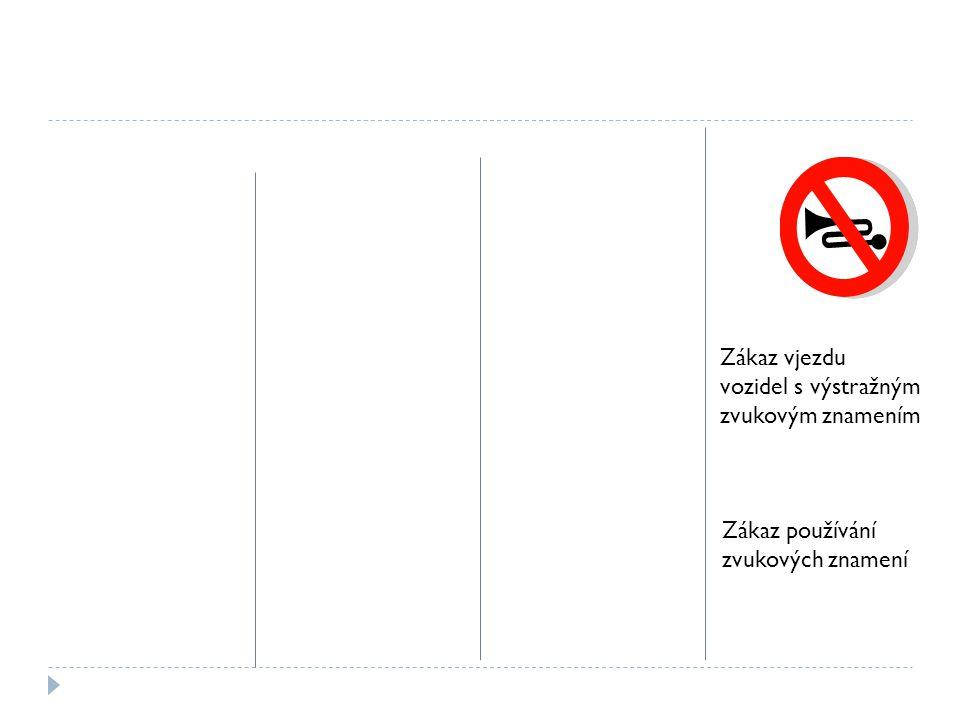Zákaz vjezdu vozidel s výstražným zvukovým znamením Zákaz používání zvukových znamení