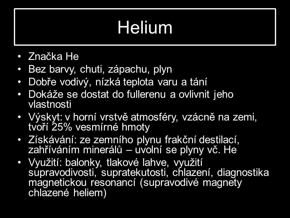 Helium Značka He Bez barvy, chuti, zápachu, plyn