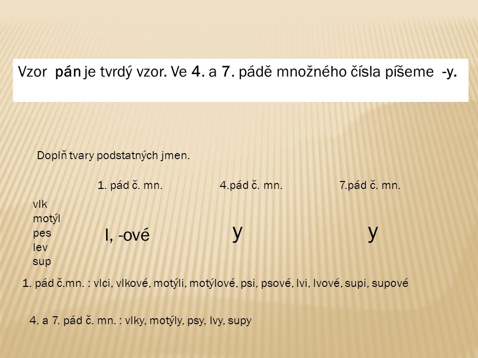 Vzor pán je tvrdý vzor. Ve 4. a 7. pádě množného čísla píšeme -y.
