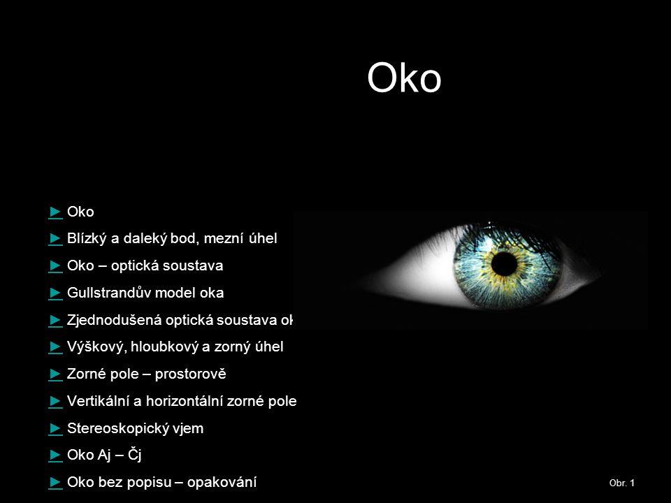 Oko ► Oko ► Blízký a daleký bod, mezní úhel ► Oko – optická soustava