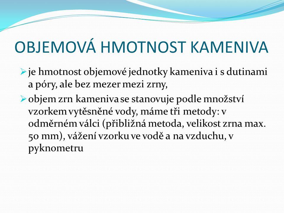OBJEMOVÁ HMOTNOST KAMENIVA