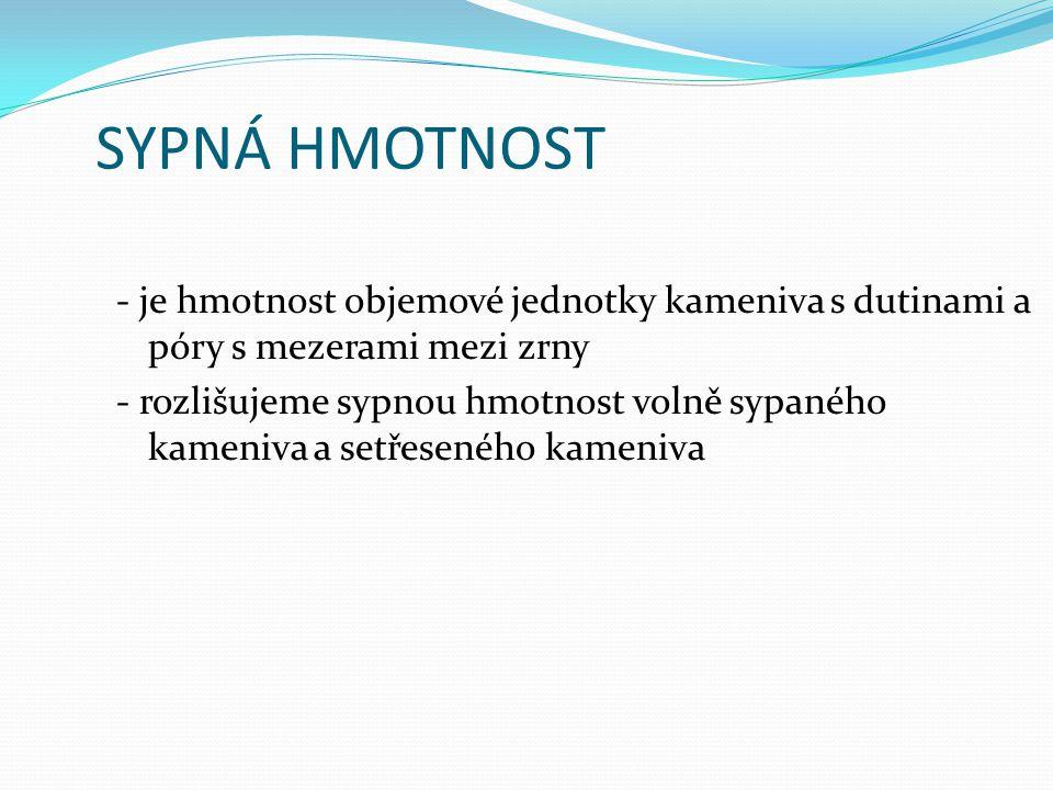 SYPNÁ HMOTNOST - je hmotnost objemové jednotky kameniva s dutinami a póry s mezerami mezi zrny.