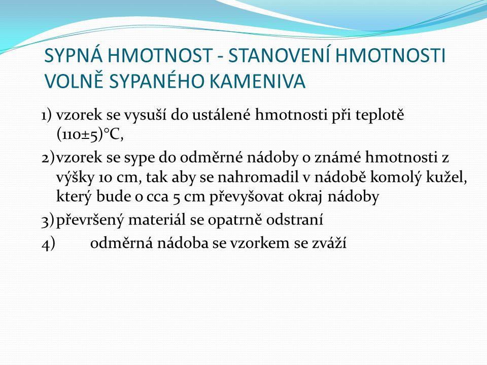SYPNÁ HMOTNOST - STANOVENÍ HMOTNOSTI VOLNĚ SYPANÉHO KAMENIVA