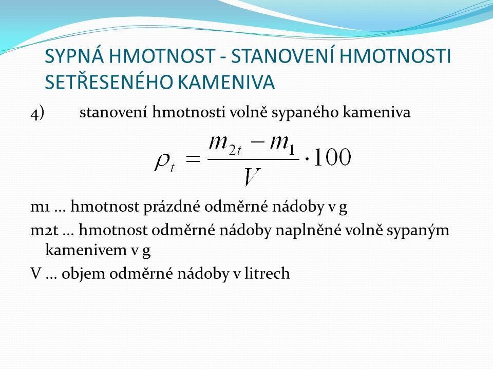 SYPNÁ HMOTNOST - STANOVENÍ HMOTNOSTI SETŘESENÉHO KAMENIVA