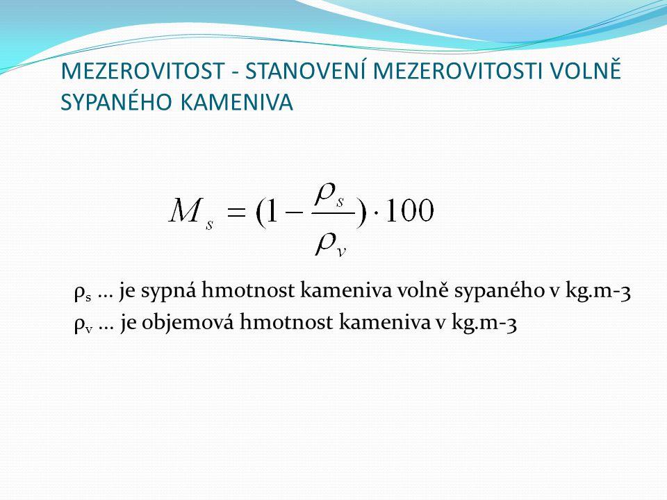 MEZEROVITOST - STANOVENÍ MEZEROVITOSTI VOLNĚ SYPANÉHO KAMENIVA