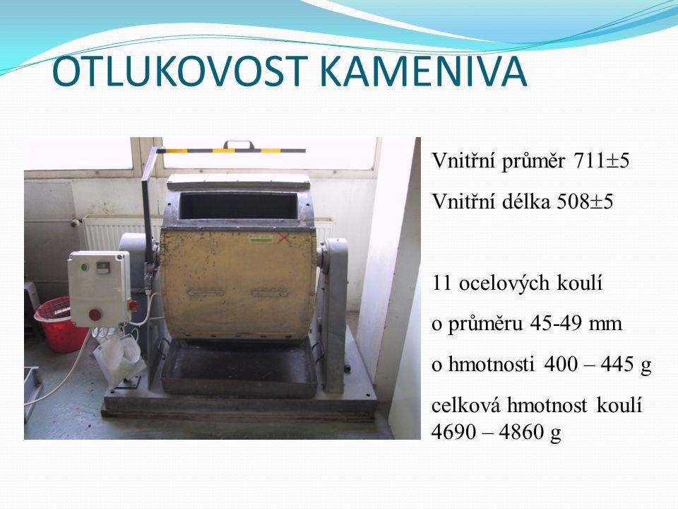 OTLUKOVOST KAMENIVA Vnitřní průměr 7115 Vnitřní délka 5085