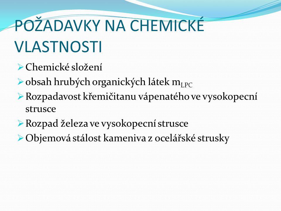 POŽADAVKY NA CHEMICKÉ VLASTNOSTI