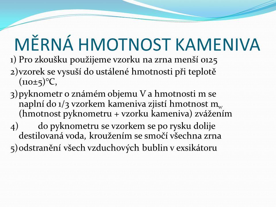 MĚRNÁ HMOTNOST KAMENIVA