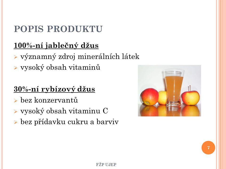 POPIS PRODUKTU 100%-ní jablečný džus významný zdroj minerálních látek