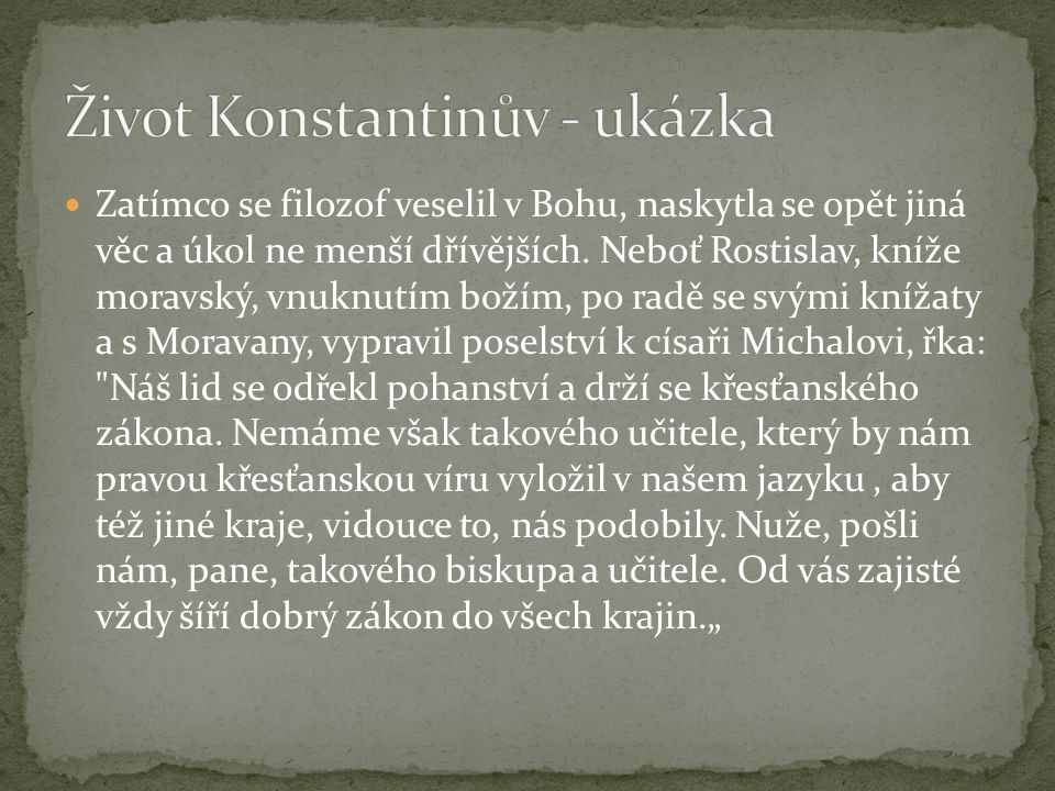 Život Konstantinův - ukázka