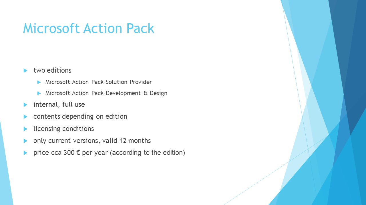 Microsoft Action Pack two editions internal, full use