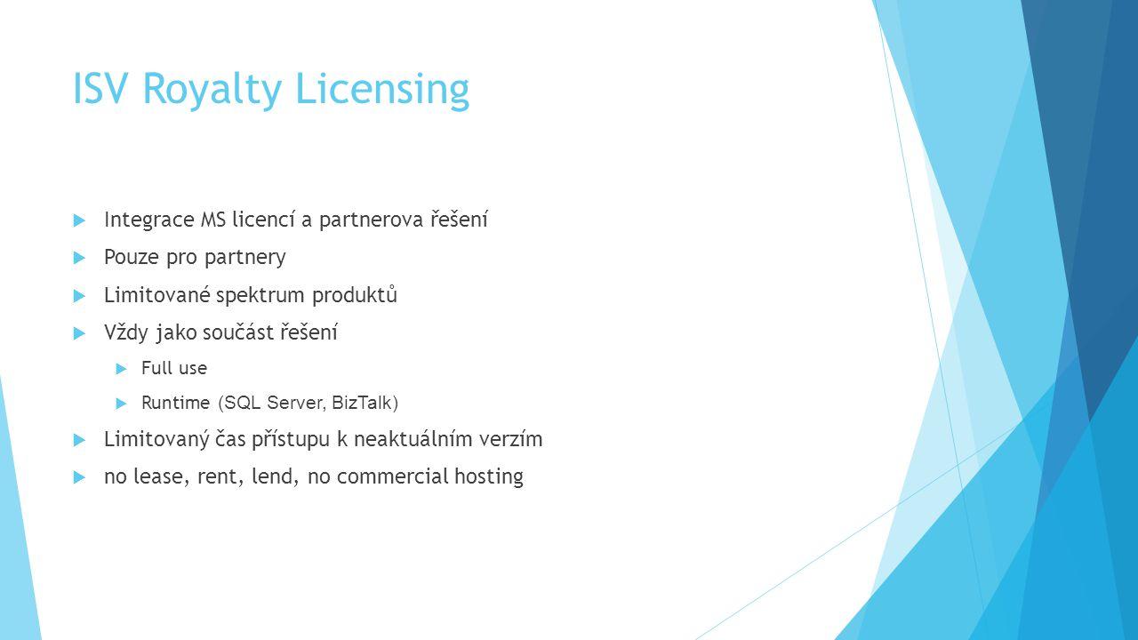 ISV Royalty Licensing Integrace MS licencí a partnerova řešení