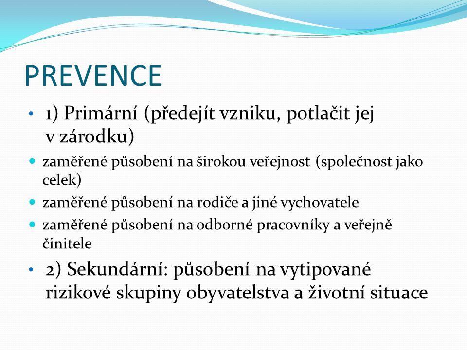 PREVENCE 1) Primární (předejít vzniku, potlačit jej v zárodku)