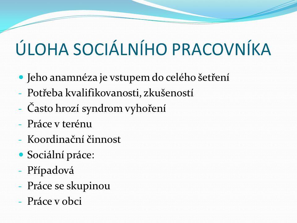 ÚLOHA SOCIÁLNÍHO PRACOVNÍKA
