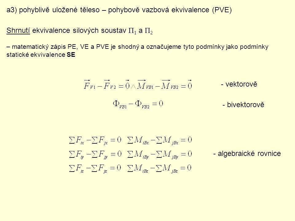 a3) pohyblivě uložené těleso – pohybově vazbová ekvivalence (PVE)
