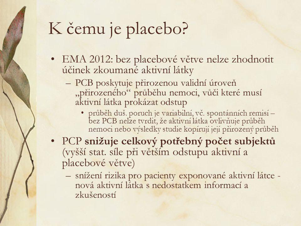 K čemu je placebo EMA 2012: bez placebové větve nelze zhodnotit účinek zkoumané aktivní látky.
