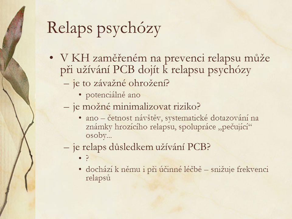 Relaps psychózy V KH zaměřeném na prevenci relapsu může při užívání PCB dojít k relapsu psychózy. je to závažné ohrožení